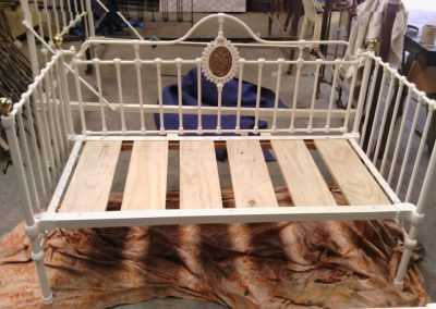 Daybed with brass plaque feature