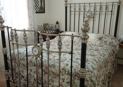 Double Bed, low four poster, nickel and porcelain