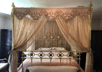 Timeless Recreation – King size, four poster, all brass bed with mother of pearl medallions