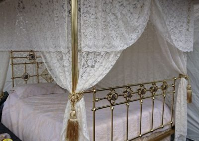 Timeless Recreation – King size, four poster, all brass bed with mother of pearl medallion