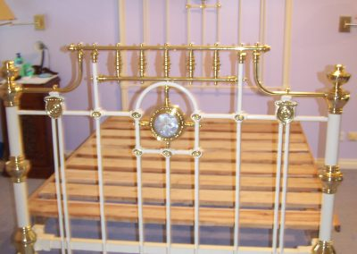 Antique White and Brass bed, with Mother of Pearl inlay features