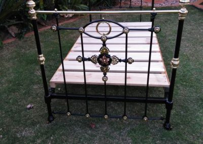 King Single, Brass and Iron Bed with Unusual Style Medallions
