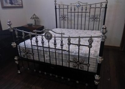 King Size Brass, Porcelain , Mother of Pearl, Low Four Poster